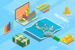 Pays philippin de croissance d'économie d'affaires avec la carte et la condition de finances - illustration de vecteur photographie stock