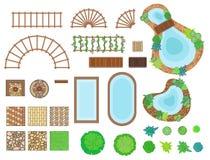 Paysage, éléments de jardin illustration de vecteur