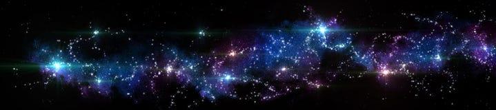 Paysage étoilé de panorama Panorama de l'univers image stock