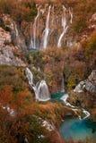 Paysage étonnant d'automne des lacs Plitvice photographie stock