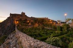 Paysage étonnant de château médiéval de Marvao au coucher du soleil Photographie stock