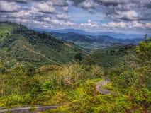 Paysage aérien de nature avec la route de montagne par la forêt images stock