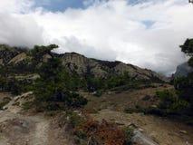Paysage abandonné des plaines de l'Himalaya supérieures Photographie stock