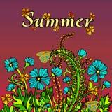 Paysage abstrait d'été dans le boho de style chic, hippie, carte, couverture Illustration de Vecteur