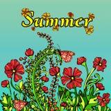 Paysage abstrait d'été dans le style du boho chic Illustration de Vecteur