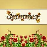 Paysage abstrait d'été dans le style du boho chic, hippie, carte, couverture Fleurs rouges sur un fond d'or Lumineux, juteux Illustration Libre de Droits