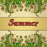 Paysage abstrait d'été dans le style du boho chic, hippie, main-dessin, carte, couverture Illustration de Vecteur