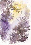 Paysage abstrait d'aquarelle, arbres en soleil Image stock