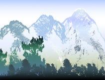Paysage abstrait d'hiver de montagne avec les roches, la glace et les arbres criqués illustration de vecteur