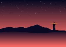 Paysage abstrait de mer de silhouette de fond avec le phare Image libre de droits