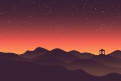 Paysage abstrait de montagne de silhouette de coucher du soleil de fond Image libre de droits