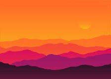 Paysage abstrait de montagne de silhouette de coucher du soleil de fond Images stock