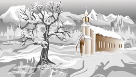 Paysage abstrait de Noël de vecteur avec la neige Illustration de vecteur