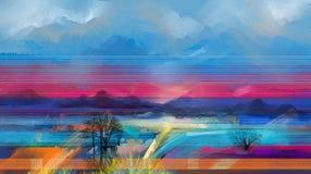 Paysage abstrait de peinture à l'huile Arbre semi abstrait, champ, pré Nature de paysage d'abstraction, art contemporain pour le  Illustration Libre de Droits