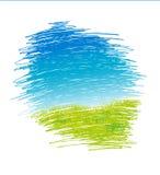 Paysage abstrait de vecteur de dessin avec l'herbe verte et le ciel bleu - vecteur Images libres de droits