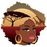 Paysage africain de fille illustration stock