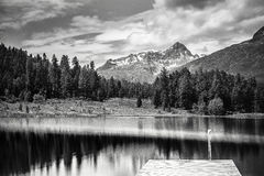 Paysage alpin avec le lac de montagne en beaux-arts noirs et blancs Image libre de droits