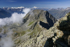 Paysage alpin de montagne d'Alpes chez Jungfraujoch, dessus de commutateur de l'Europe Photos stock