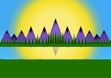 Paysage animé de scène de montagne photographie stock