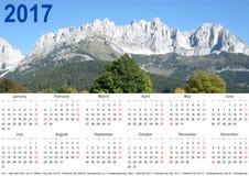 Paysage 2017 annuel de montagne de calendrier Etats-Unis Image libre de droits