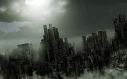 Paysage apocalyptique sombre illustration libre de droits