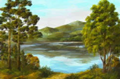 Paysage, arbres et lac Image stock