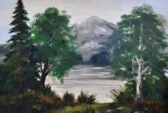 Paysage, arbres et lac Photos stock