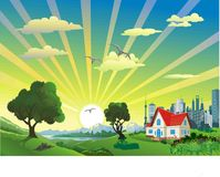 Paysage - arbres pendant le matin sur la colline Chaîne de montagne Campagne de nature image stock