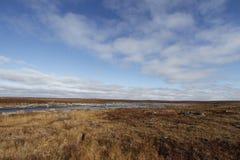 Paysage arctique plat pendant l'été avec les cieux bleus et les nuages mous Image stock