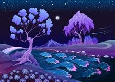 Paysage astral avec les arbres et la rivière pendant la nuit illustration de vecteur
