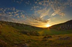 Paysage au coucher du soleil images stock