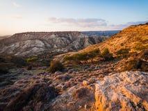 Paysage au coucher du soleil près de Pissouri Photo stock