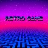 Paysage au néon de rétro hippie de jeu avec le labyrinthe Image libre de droits