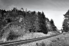 Paysage automnal du ` s de Macha de nature par la voie 080 avant passage du train de voyageurs photos libres de droits