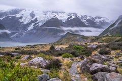 Paysage autour de Mt Parc national de cuisinier/Aoraki, Nouvelle-Zélande Photo libre de droits
