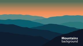 Paysage avec des montagnes et des collines Sports extrêmes, fond extérieur de récréation Photo stock