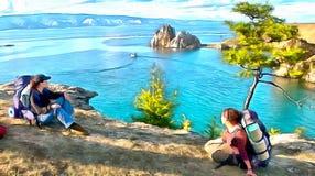 Paysage avec des personnes sur le haut rivage rocheux d'un lac de montagne illustration stock