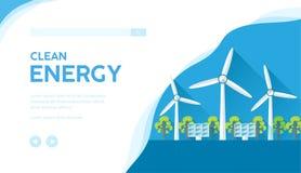 Paysage avec des turbines de vent, panneaux solaires images stock