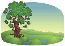 Paysage avec l'arbre Photo libre de droits