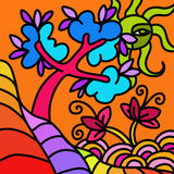 Paysage avec l'arbre abstrait illustration de vecteur