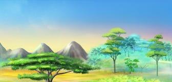 Paysage avec l'arbre d'acacia en montagnes Photo stock