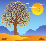Paysage avec l'arbre feuillu 2 illustration de vecteur