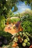 Paysage avec la maison faite à partir de la nourriture Photographie stock