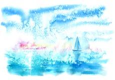 Paysage avec la mer et le bateau illustration libre de droits