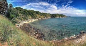 Paysage avec la plage vide abandonnée Photos stock