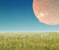 Paysage avec la planète d'imagination. Image stock