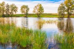 Paysage avec la rivière et le ciel bleu Photographie stock libre de droits