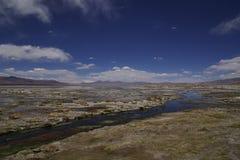 Paysage avec la rivière et le lac dans l'altiplano en Bolivie photo libre de droits