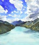 Paysage avec la rivière et les montagnes Aragvi Photo stock