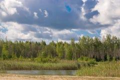 Paysage avec la rivi?re et la for?t sur l'horizon Cumulus en ciel Nature letton Arbre dans le domaine photographie stock